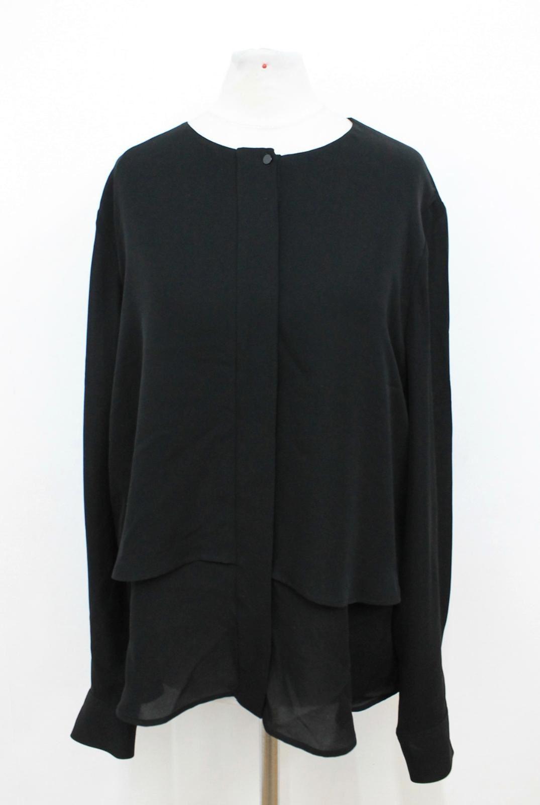 THEORY Ladies schwarz Silk Long Sleeved Buttoned Cuffs Casual Shirt Größe L