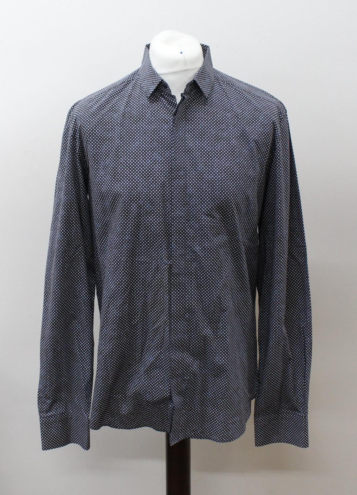 Neil-Barrett-Hombre-Azul-Negro-Algodon-Estampado-de-Estrellas-Formal-Camisa-Cuello-16-5-034-42cm