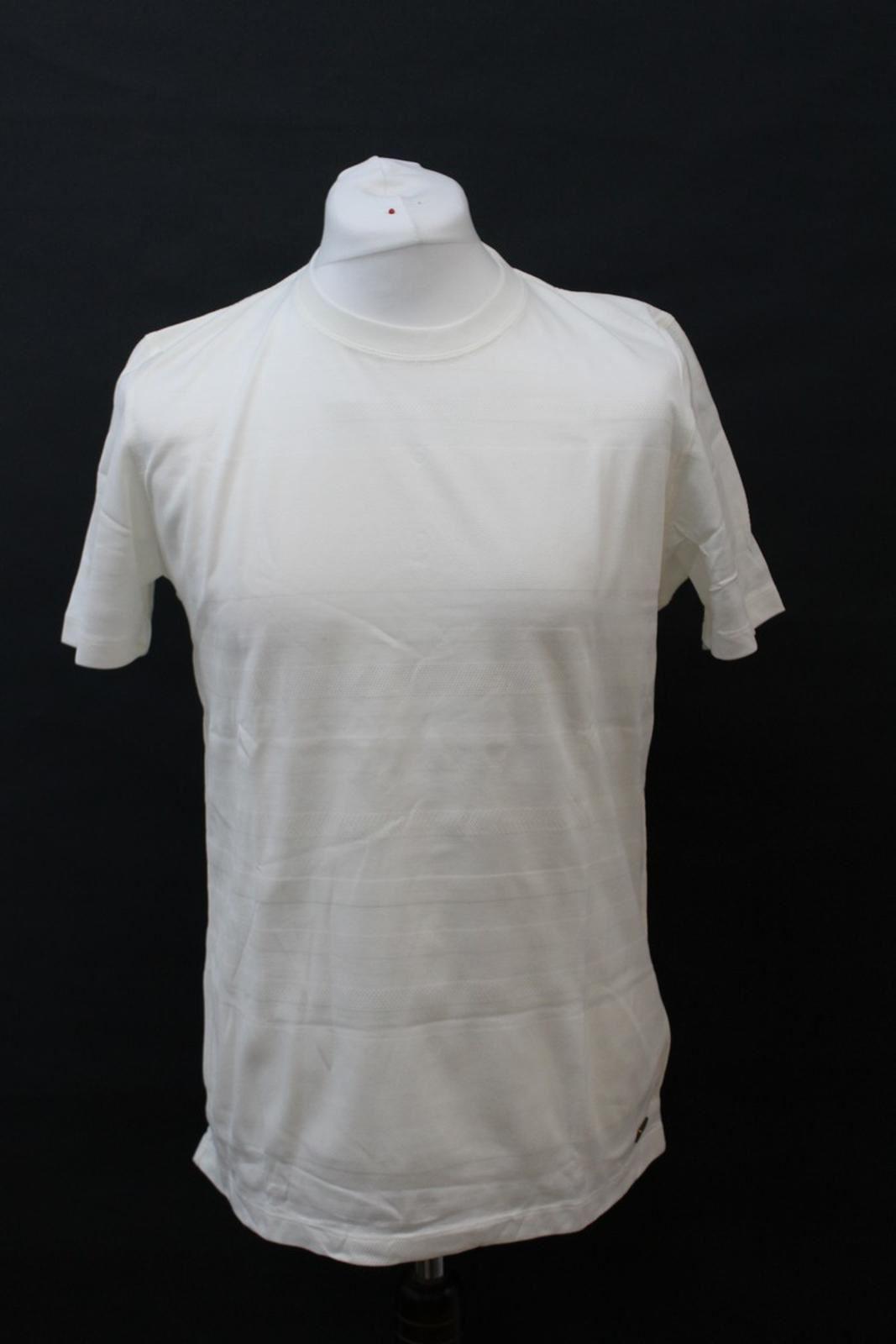 BURBERRY-LONDON-Men-039-s-Ivory-Cotton-Short-Sleeve-Crew-Neck-Striped-T-Shirt-L