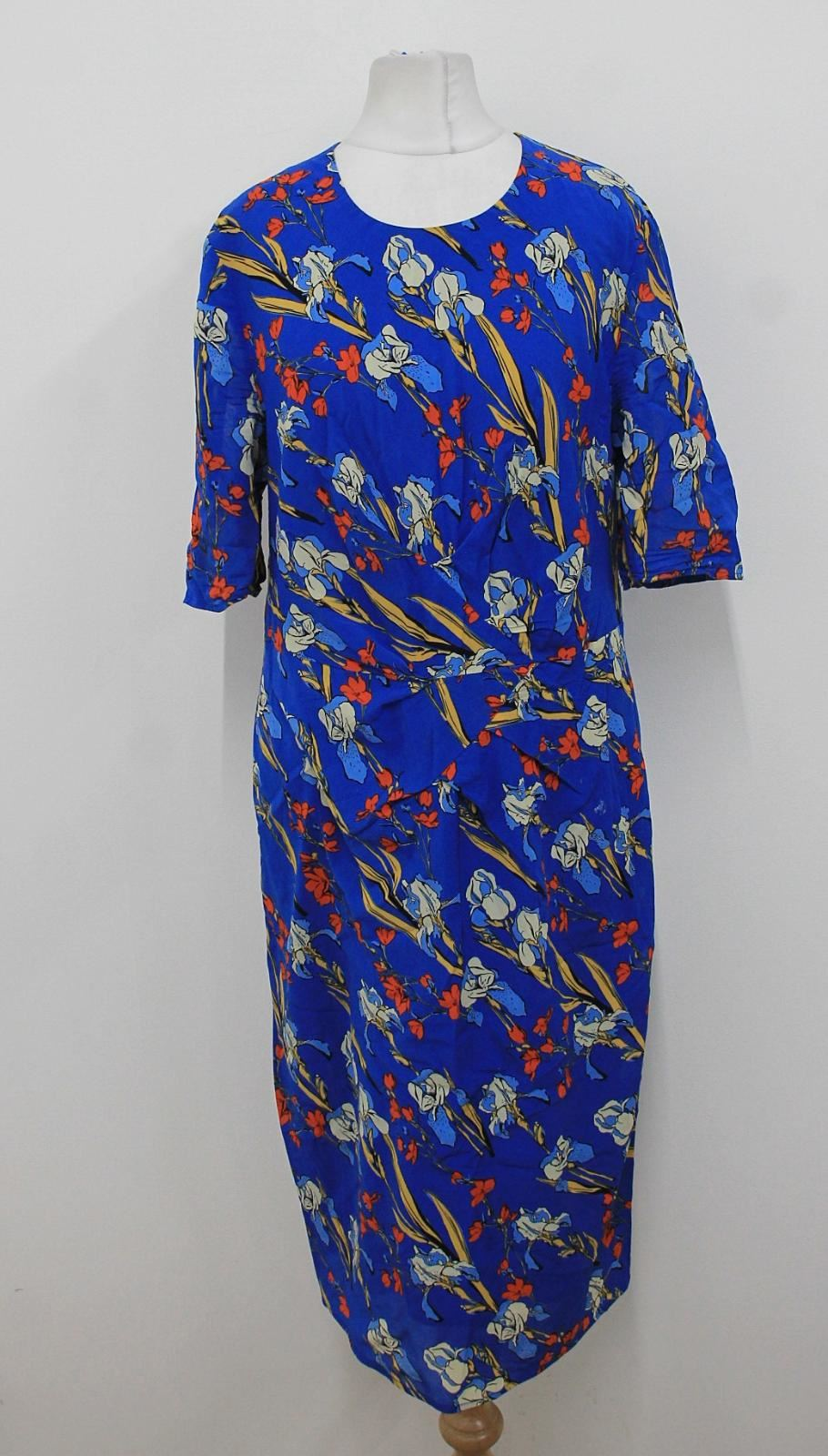 WHISTLES-Ladies-Blue-Floral-Print-Short-Sleeved-Ruched-Front-Shift-Dress-UK14