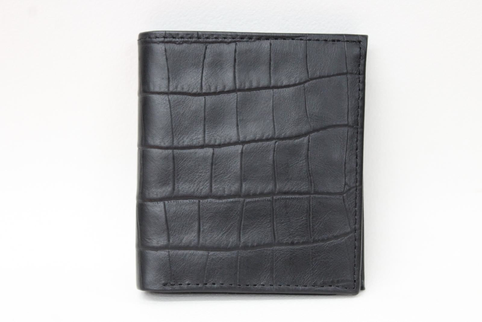 KIKI-JAMES-Men-039-s-Black-Croc-Embossed-Leather-Trifold-Card-amp-ID-Wallet-NEW
