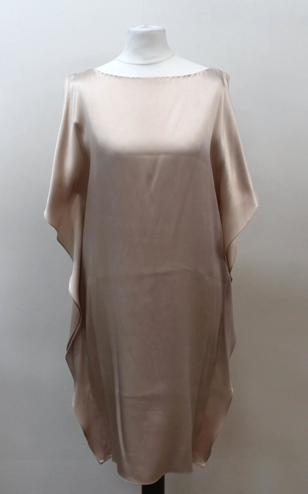 JOSEPH-Ladies-Beige-Nude-Silk-Satin-Slit-Sleeve-Side-Ruffle-Dress-EU36-UK8