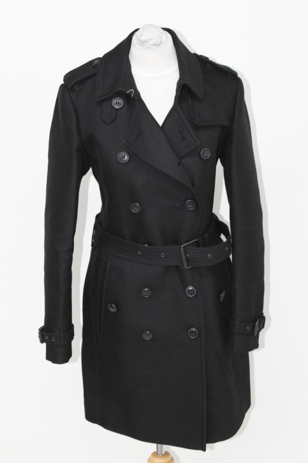 Burberry Brit Langarm Damen schwarz Jacke Doppelte Brust MAC Trenchcoat uk6