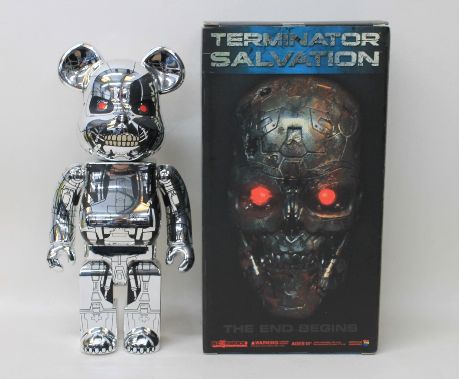 Nouveau Be@rbrick Terminator Salvation T-rip 400% 2009 Metallic Toy Bear W Box