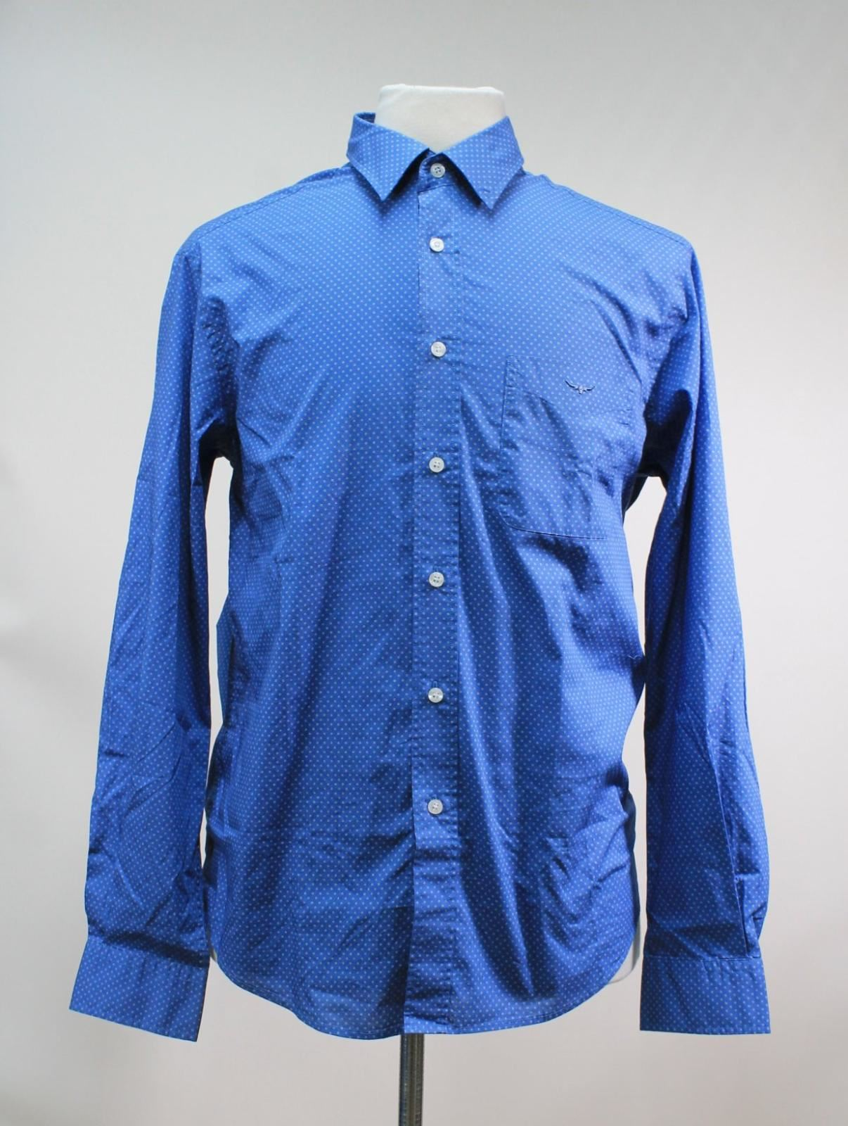 BNWT R. M. WILLIAMS Men's bluee Spotted Cotton Collared Collins Shirt Size M