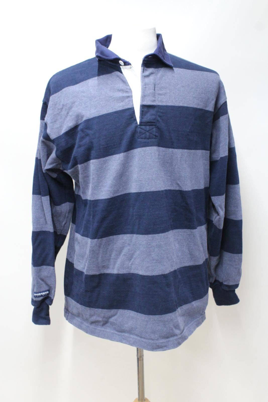 BARBARIAN Men's bluee Navy Cotton Striped Long Sleeve Rugby Shirt Top XL NEW