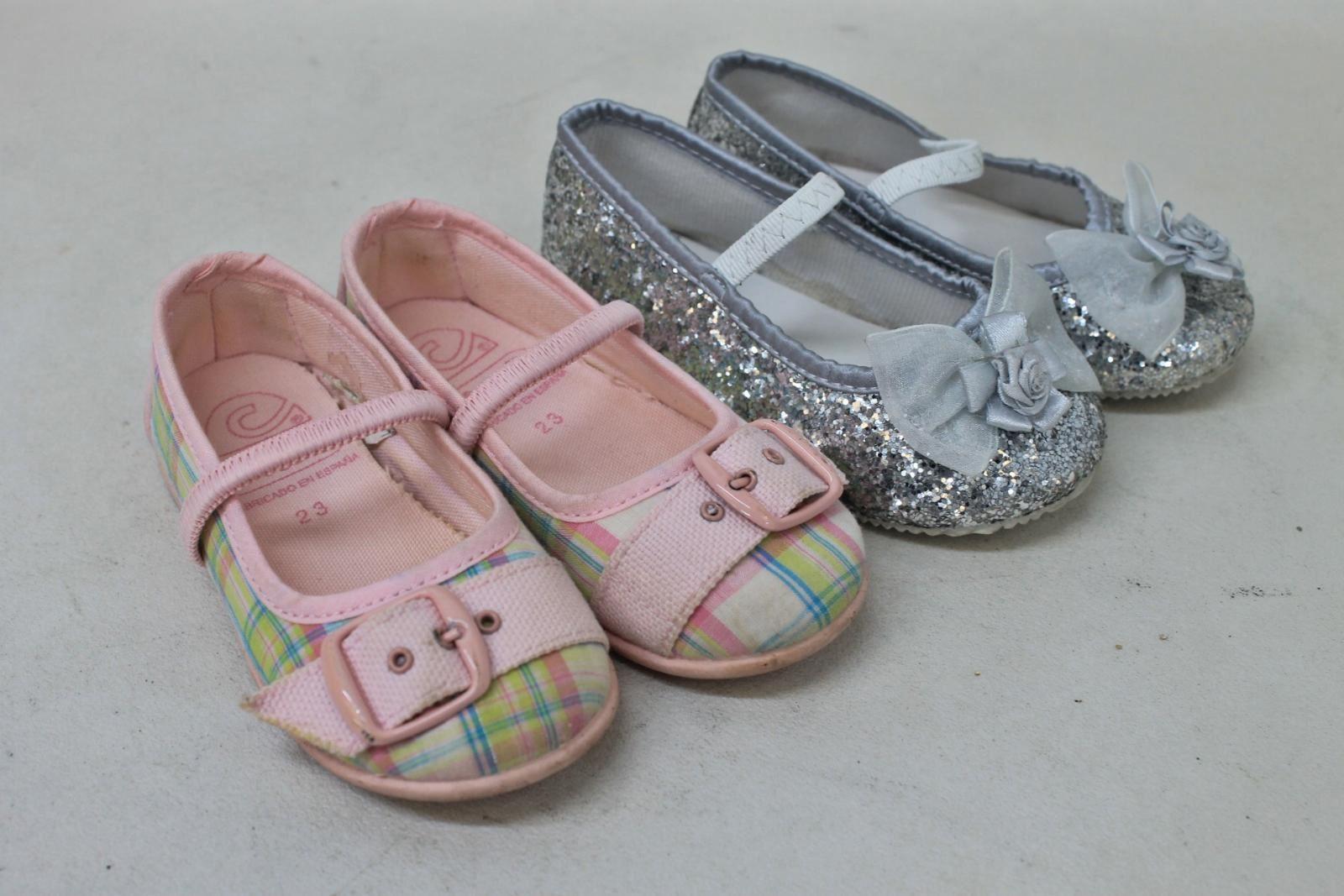 2-x-CRIO-Girls-Pink-amp-Silver-Ballerina-Mary-Jane-Flat-Shoes-Size-UK6-7-EU23