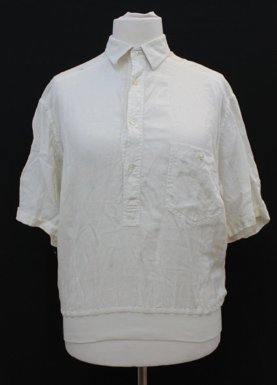 PIERRE BALMAIN Ladies Beige Linen Short Sleeved Collared Shirt Blouse UK16