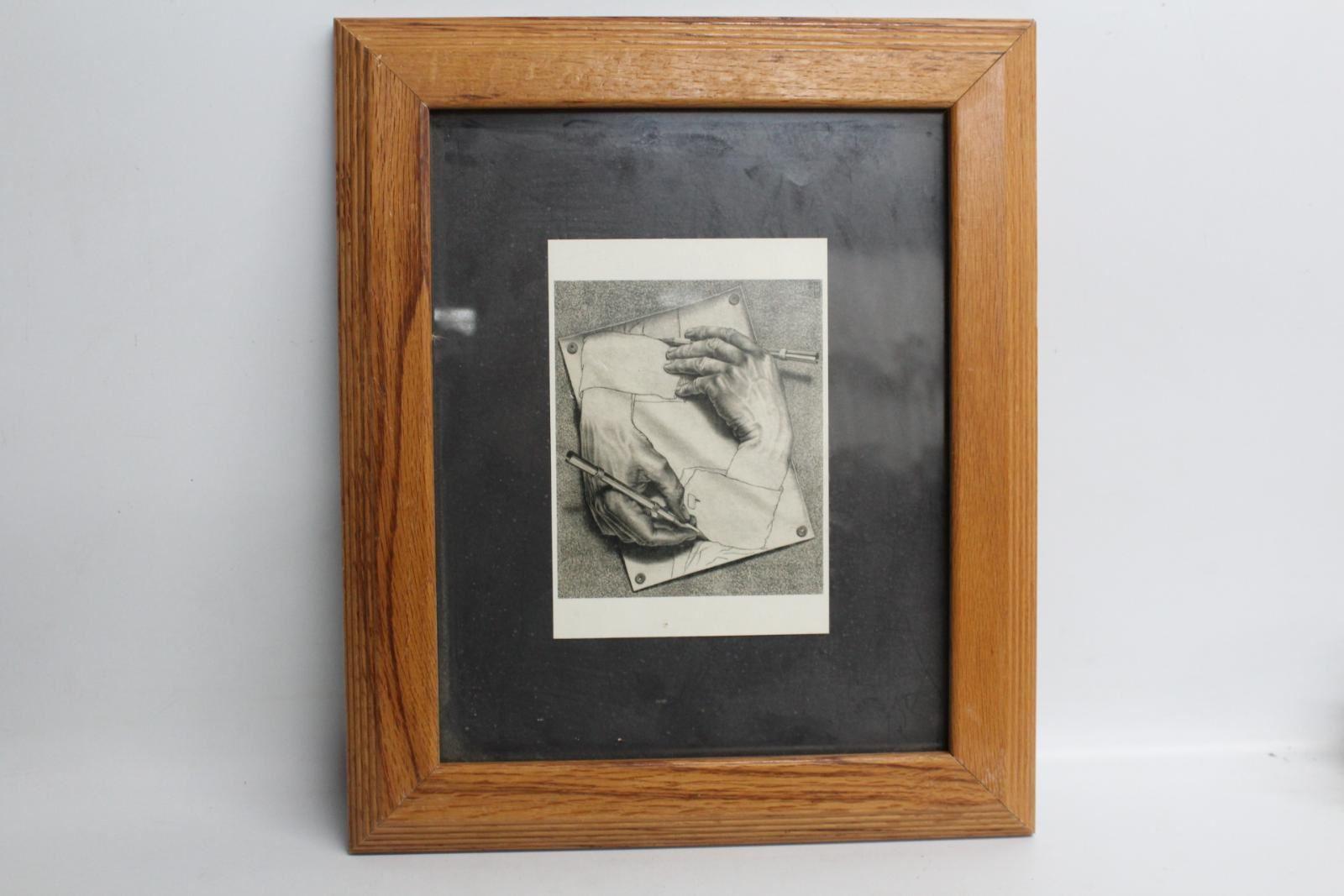 Drawing-Hands-1948-Litho-M-C-Escher-1898-1972-Print-Framed-Oak-Wood-Frame