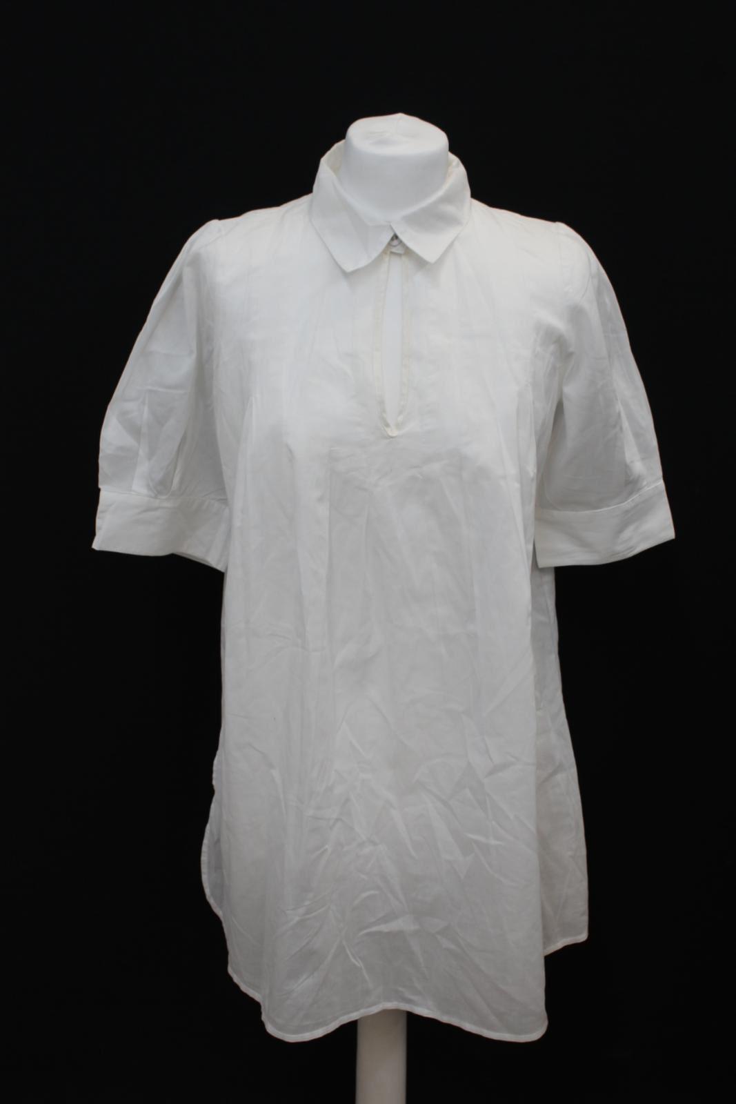 BRUUNS BAZAAR Ladies Weiß 1Cotton Collarot Keyhole Collar Blouse Top EU38 UK12