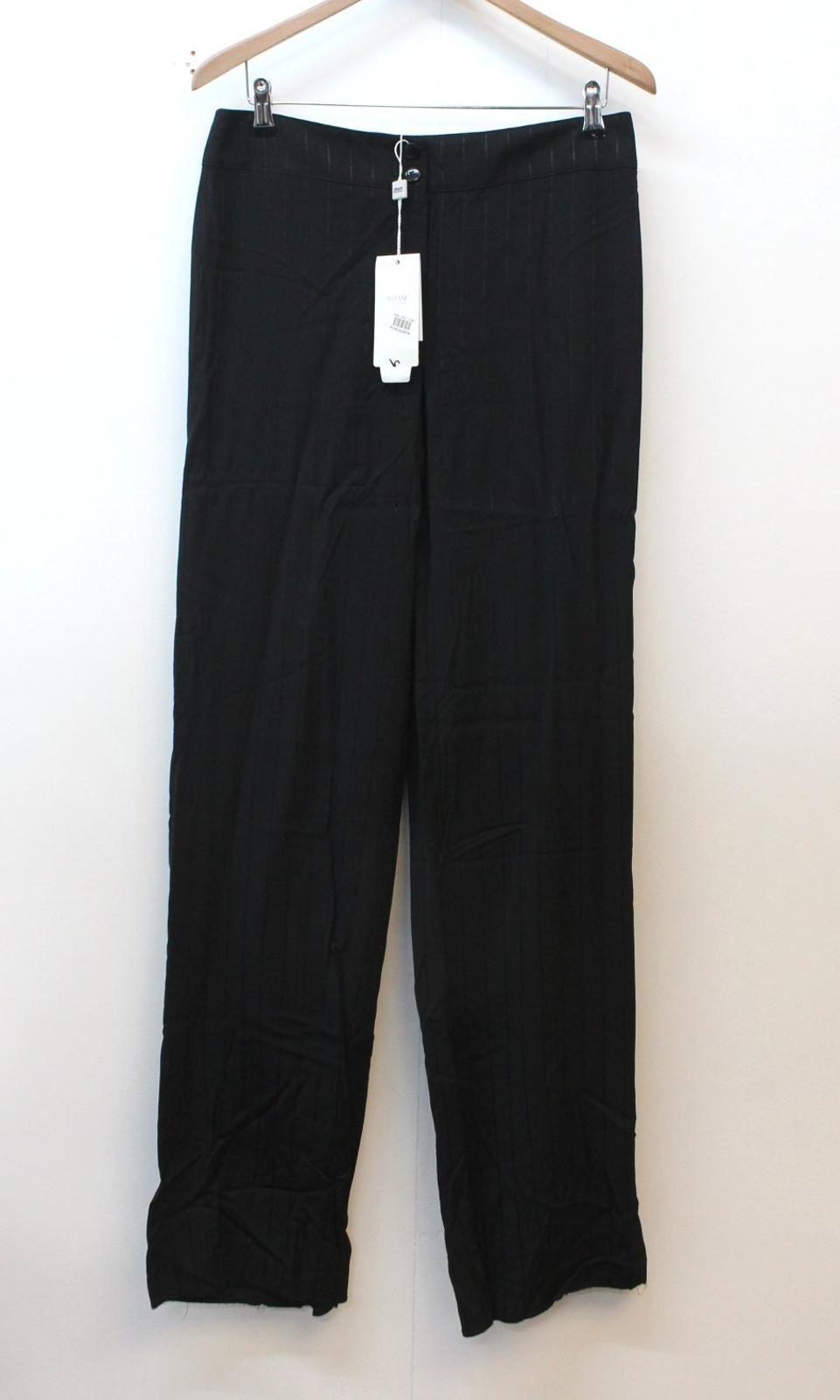 Armani Collezioni Femmes à Rayures Noir Brodé Pantalon Uk12 W30 L36 Bnwt