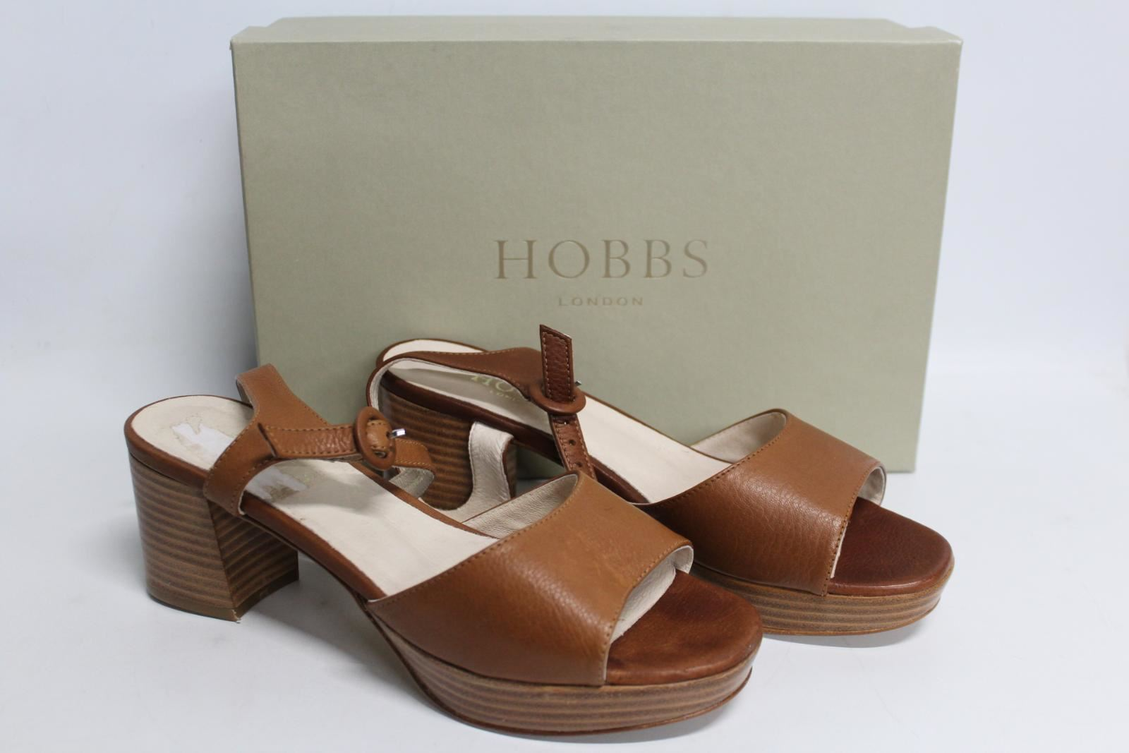 HOBBS-Ladies-Brown-Tan-Leather-Emmy-Ankle-Strap-Heeled-Sandal-Shoes-EU38-UK5-NEW