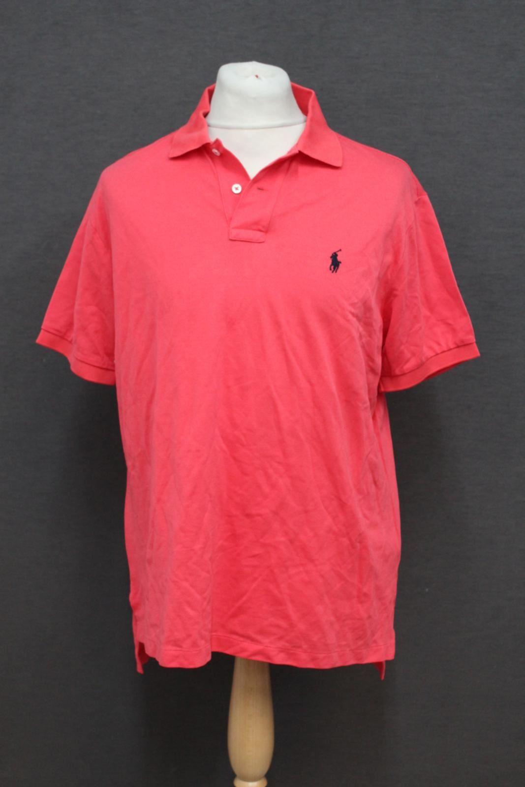 Ralph-Lauren-Polo-para-hombre-de-color-rosa-de-algodon-Manga-Corta-Camisa-Polo-De-Ajuste