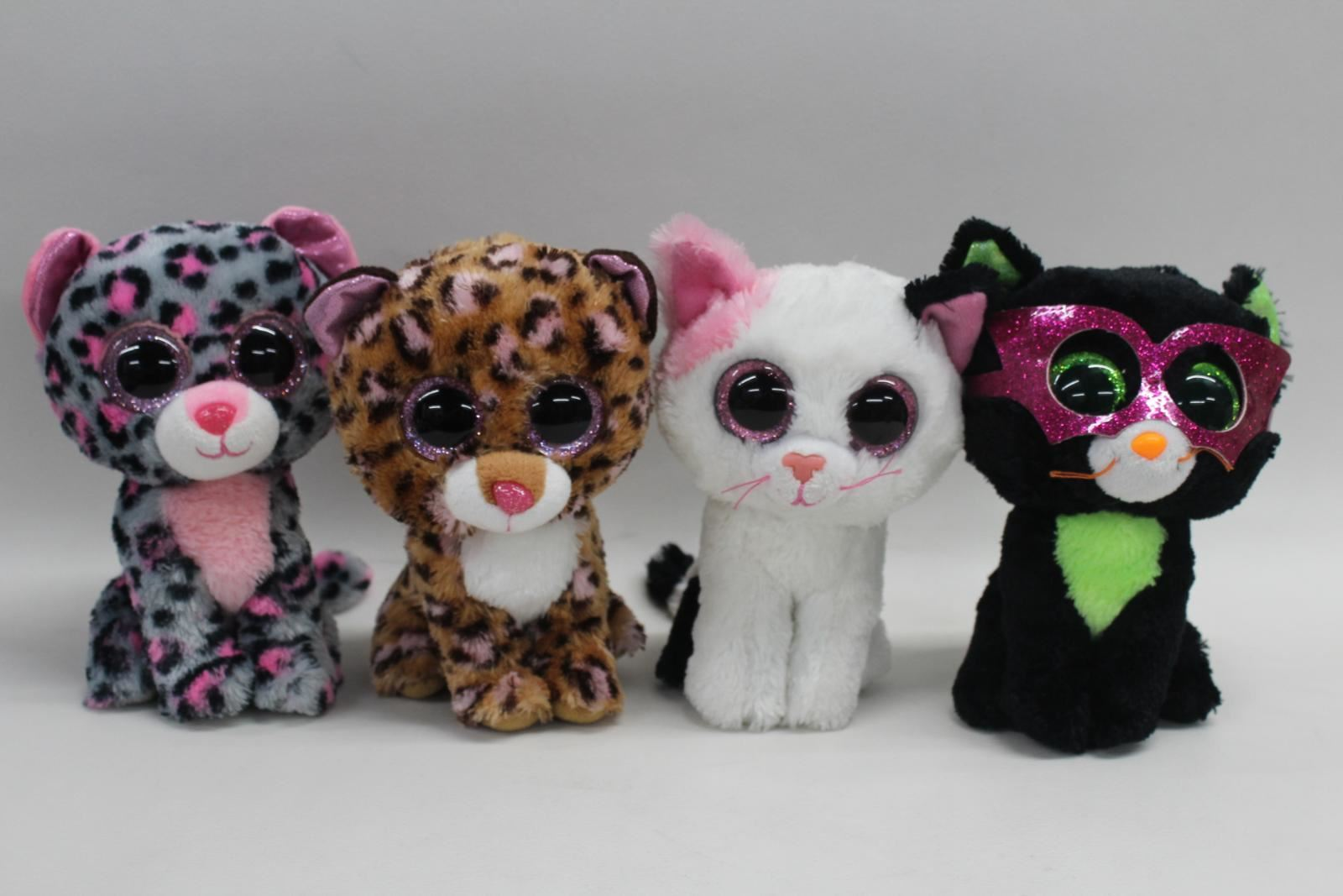 TY-Beanie-Boo-Cats-Jinxy-Patches-Tasha-6-034-Collectible-Plushies-x4-JOB-LOT