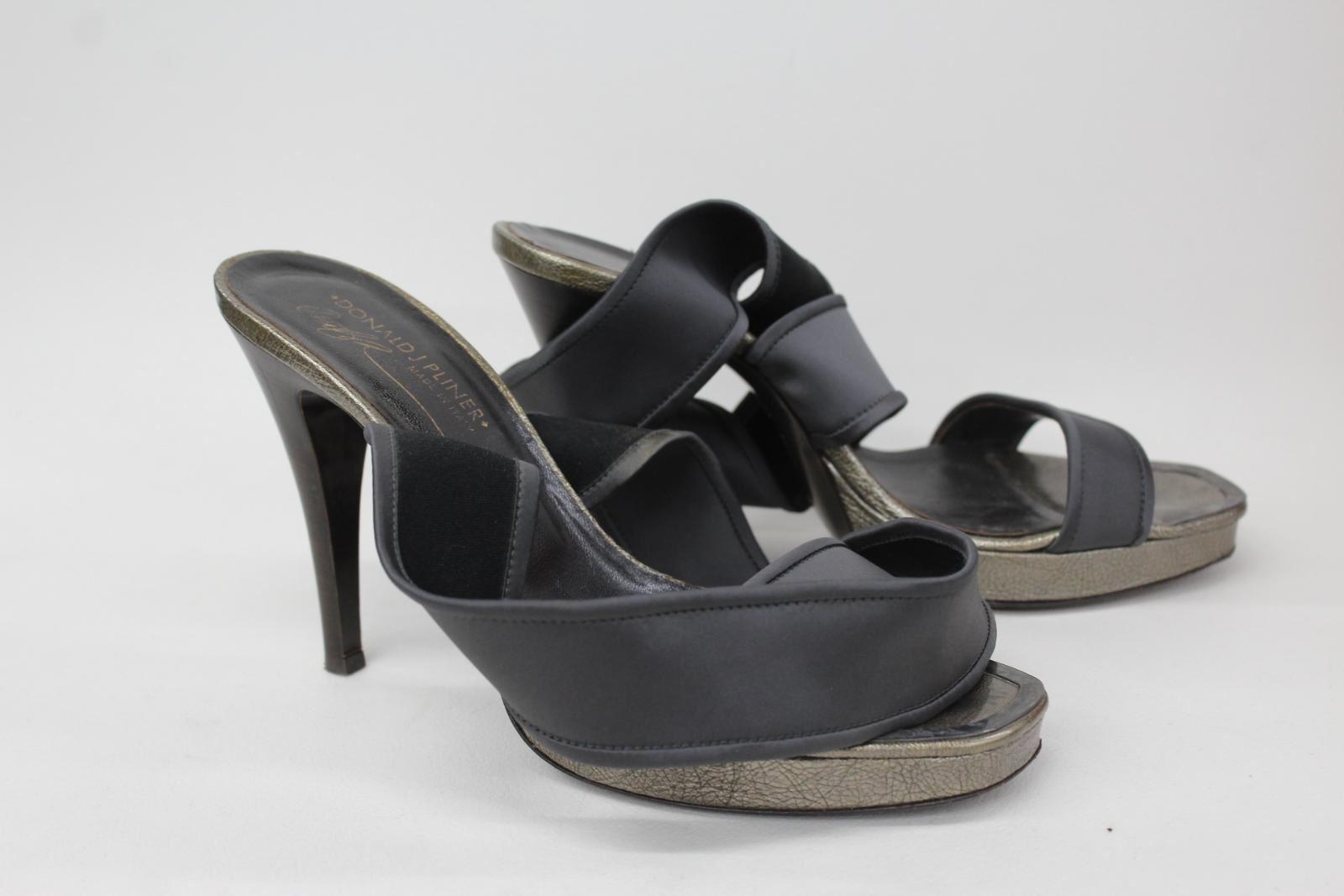 DONALD J PLINER Ladies Grey Satin Wraparound Ankle Strap Sandal shoes UK7 US9M