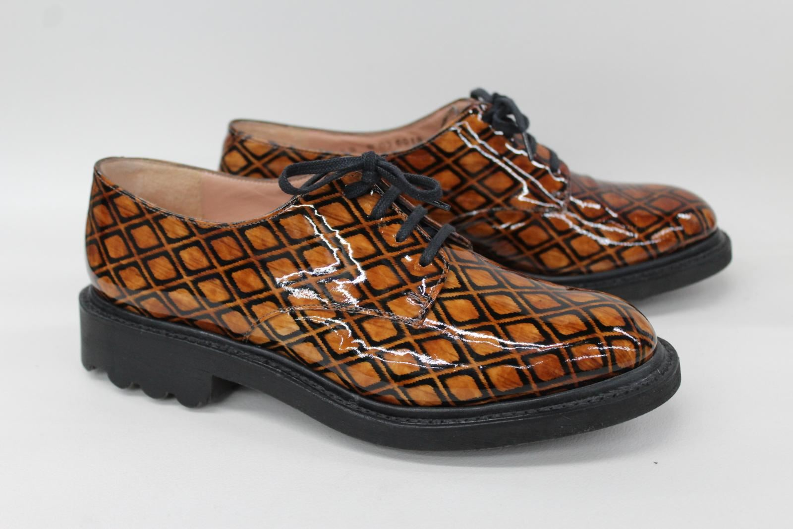 ROBERT-CLERGERIE-Ladies-Brown-Black-Patterned-Patent-Leather-Shoes-UK3-5-EU36-5