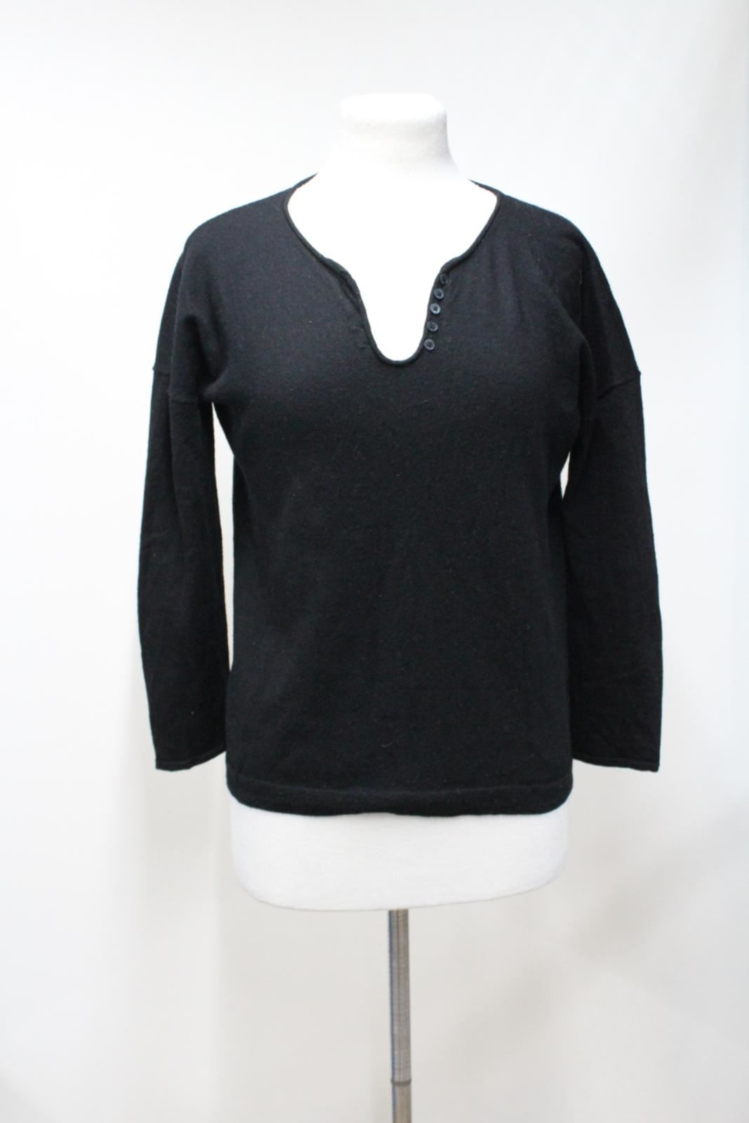 ZADIG-amp-VOLTAIRE-Black-Wool-Long-Sleeve-V-Neck-Sweater-Jumper-Size-Small