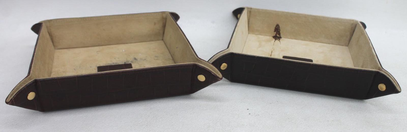 ASPINAL-OF-LONDON-Medium-Brown-Croc-Print-Leather-Tidy-Trays-Trinket-Holders-2x