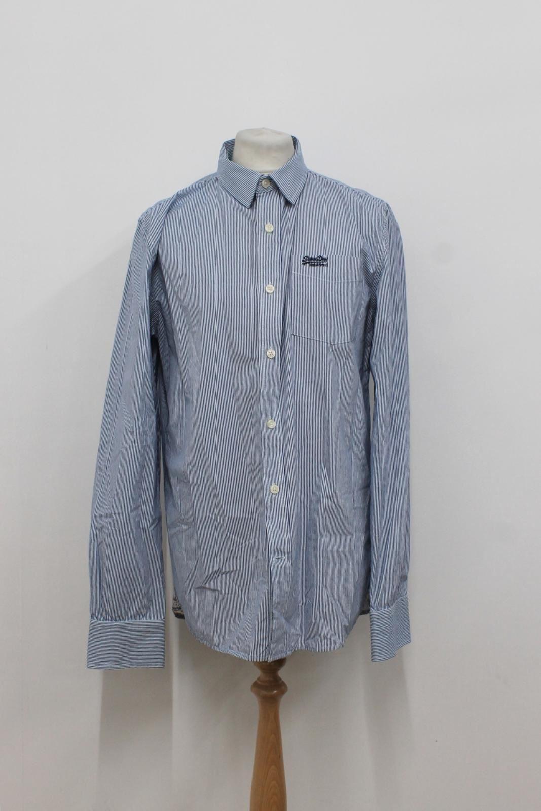 Camiseta-para-Hombre-de-Manga-Larga-Blanco-Azul-a-Rayas-Con-Cuello-Informal-Camisa-Tamano-XXL