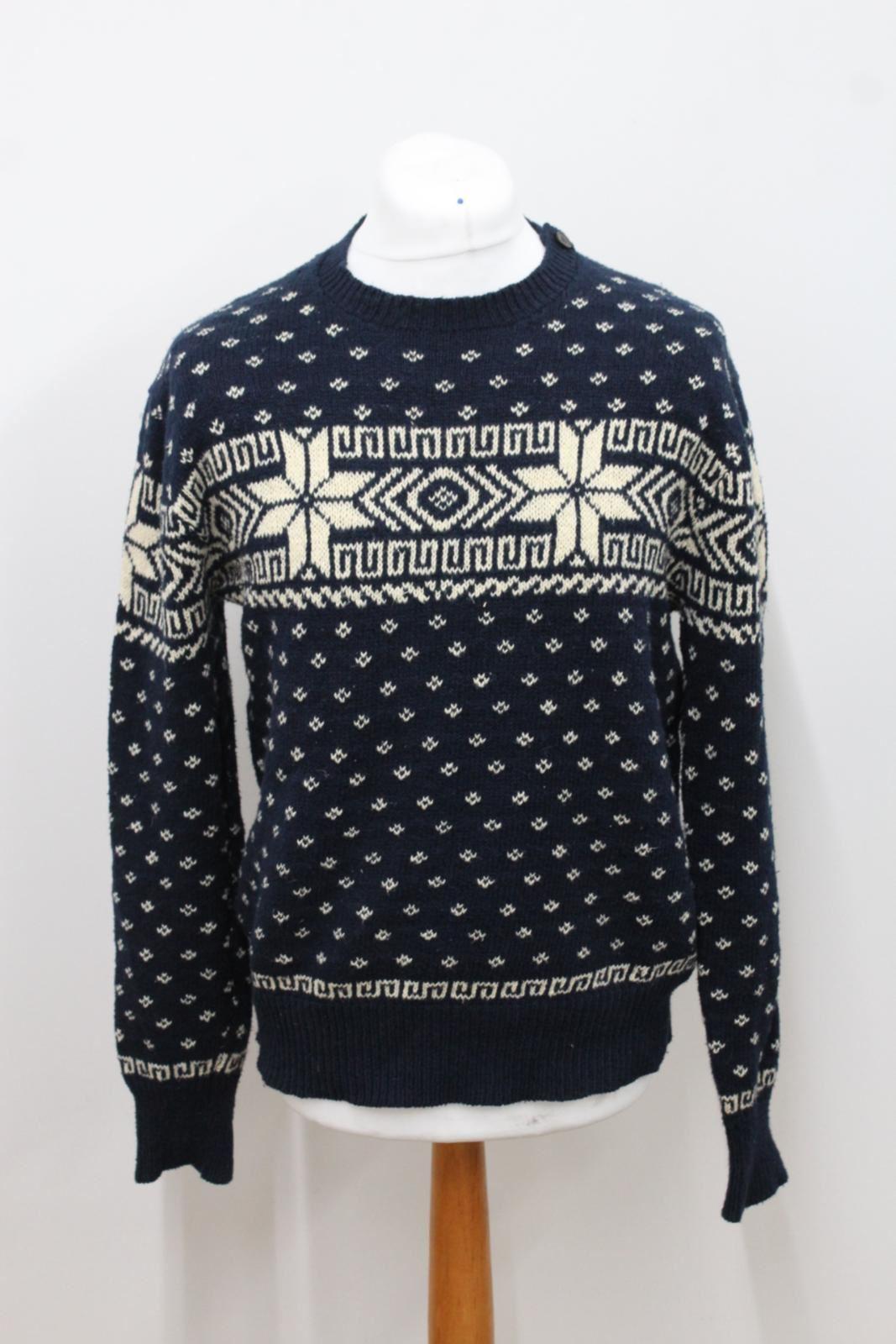 POLO-RALPH-LAUREN-Men-039-s-Navy-amp-Cream-Cotton-Blend-Knitted-Jumper-Size-M
