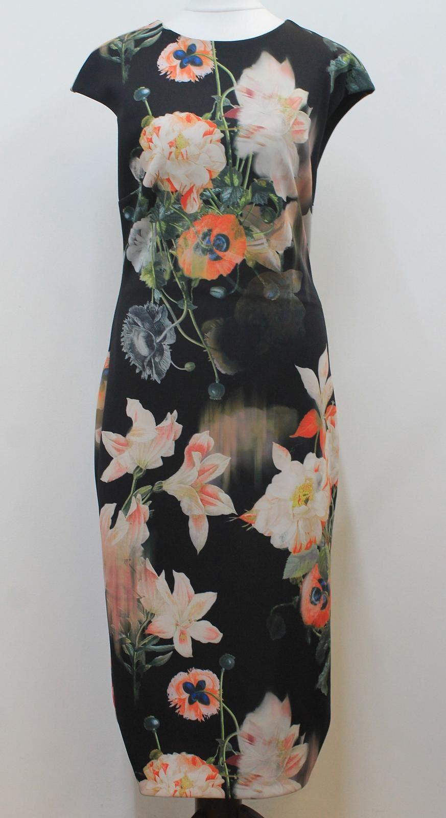 TED-BAKER-Ladies-Multi-Coloured-Floral-Print-Cap-Sleeve-Dress-Size-3-UK12