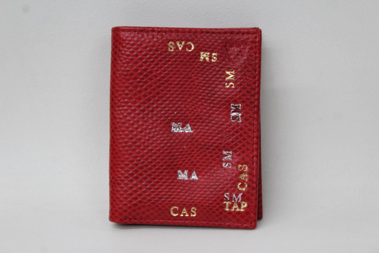 ASPINAL-OF-LONDON-Men-039-s-Red-Lizard-Print-Leather-Stamped-Bifold-Wallet-NEW