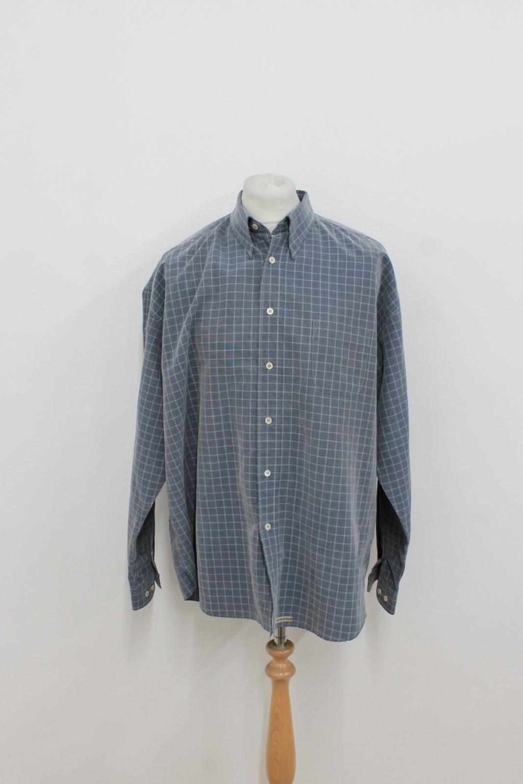 Ted-Baker-Herren-blau-grau-kariert-gemustert-Langarm-Freizeithemd-Groesse-5-xl