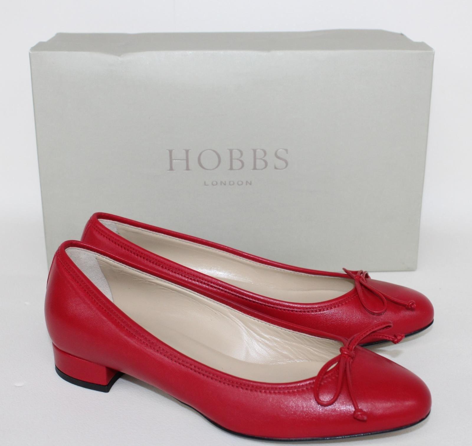 HOBBS-Ladies-Crimson-Red-Poppy-Shoe-Leather-Moccasin-Cuban-Heel-UK3-EU36-NEW