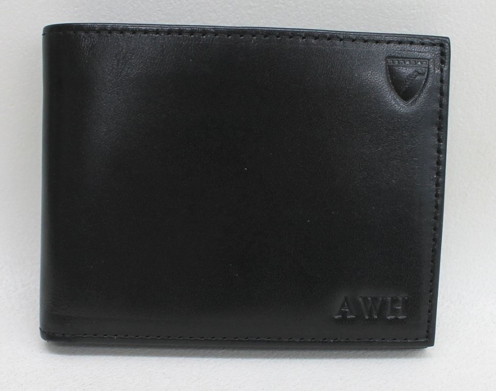 ASPINAL-OF-LONDON-Men-039-s-Black-8-Card-Billfold-Leather-Wallet-Embossed-AWH-NEW