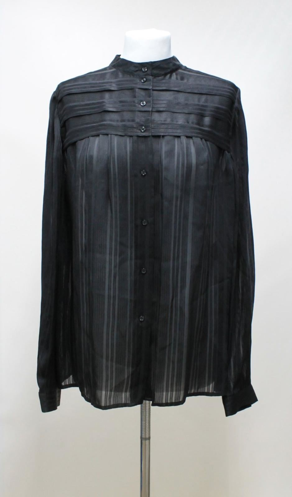 JAEGER-Ladies-Black-Sheer-Silk-Striped-Long-Sleeved-Chest-Pleat-Blouse-UK14