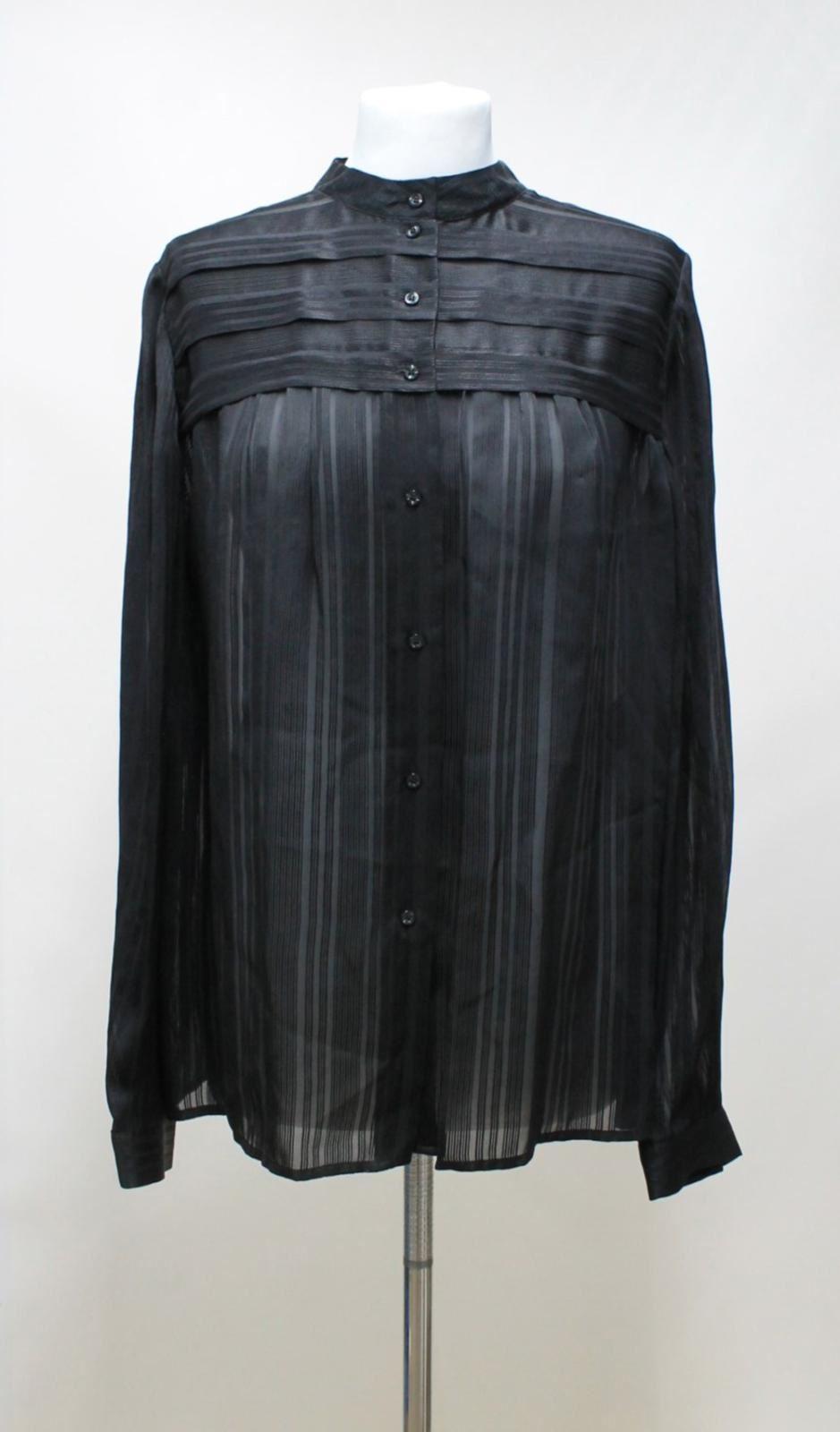 JAEGER Ladies schwarz Sheer Silk Striped Long Sleeved Chest Pleat Blouse UK14