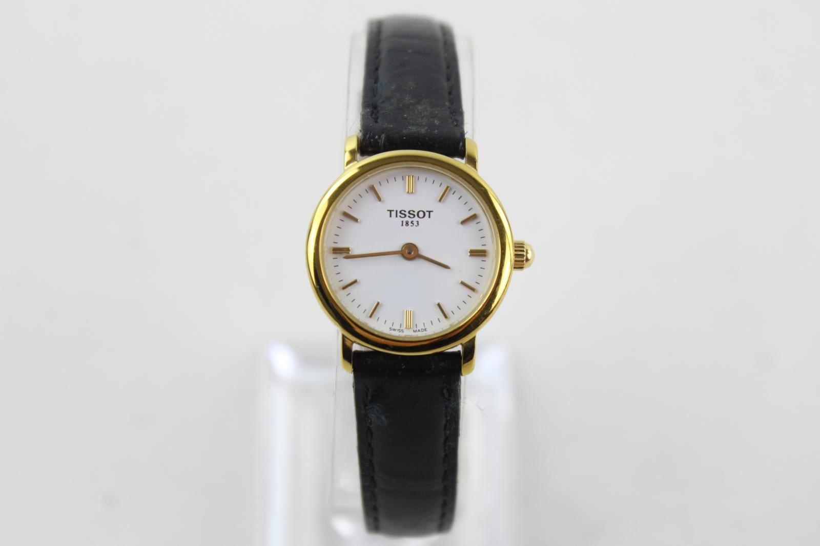 Mesdames-TISSOT-1853-ton-or-Montre-bracelet-Quartz-travaillant-avec-bracelet-en-cuir-noir