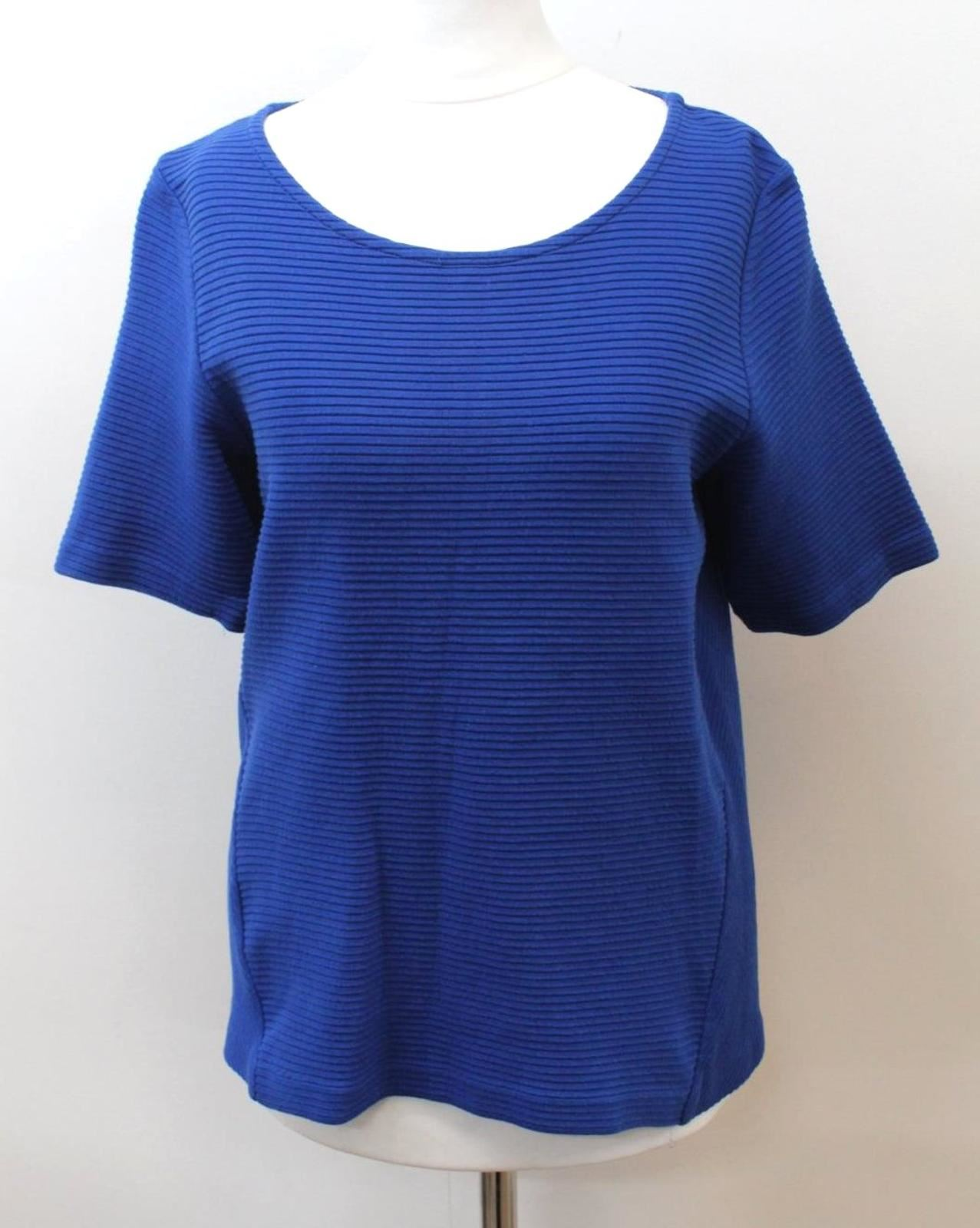JAEGER-Ladies-Blue-Cotton-Blend-Short-Sleeve-Scoop-Neck-Ribbed-Top-Size-S