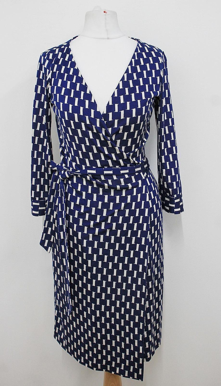 DIANE-VON-FURSTENBERG-Ladies-Navy-Blue-White-Print-Silk-Wrap-Dress-US0-UK4