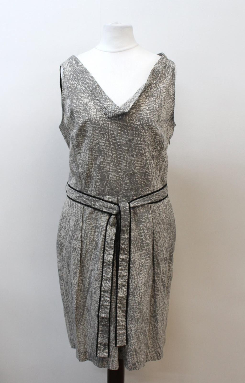 FARHI-BY-NICOLE-FARHI-Ladies-Grey-Cotton-Sleeveless-V-Neck-Printed-Dress-UK12