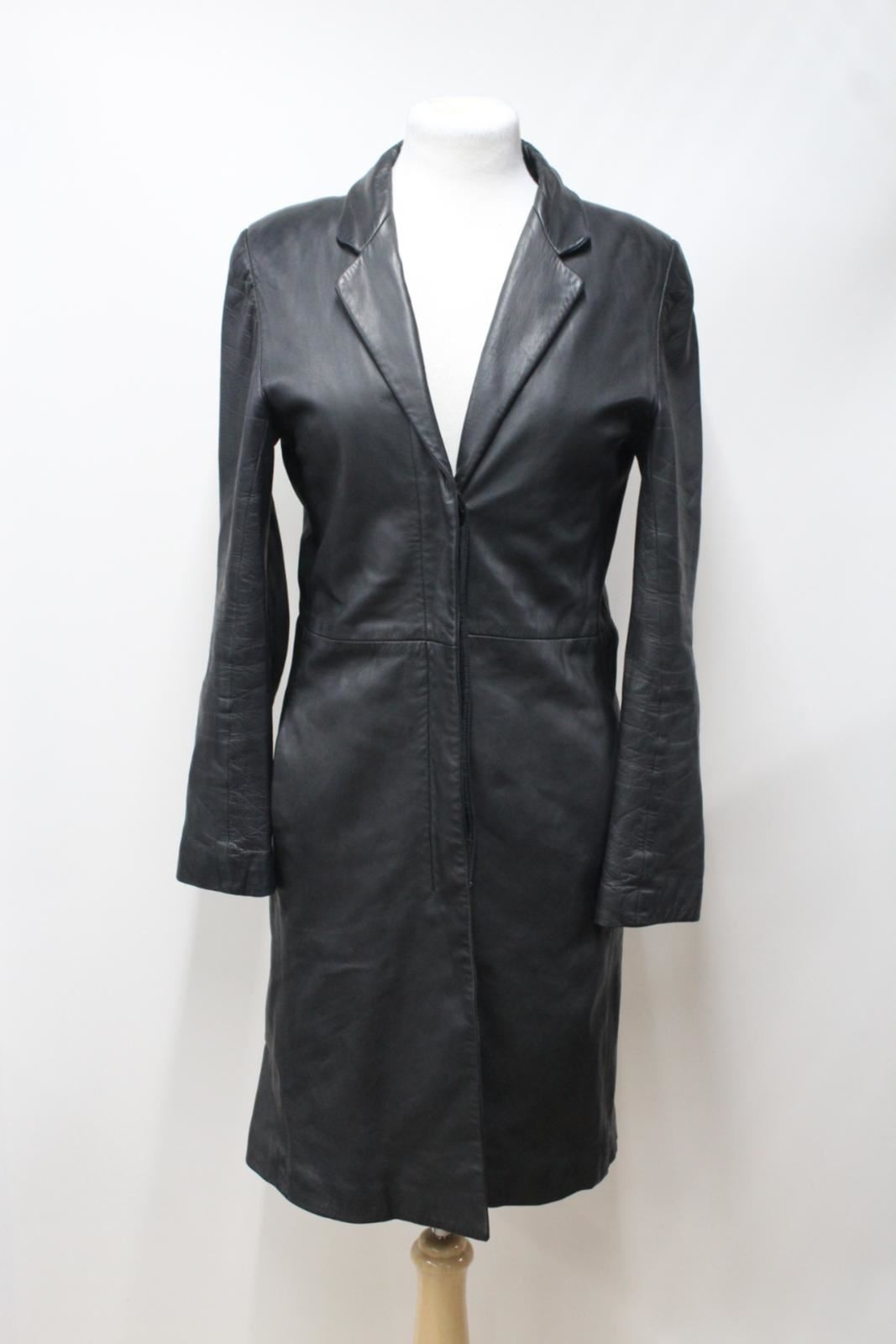 JIGSAW-Ladies-Black-Leather-Vintage-Notch-Collar-Button-Up-Coat-Approx-S