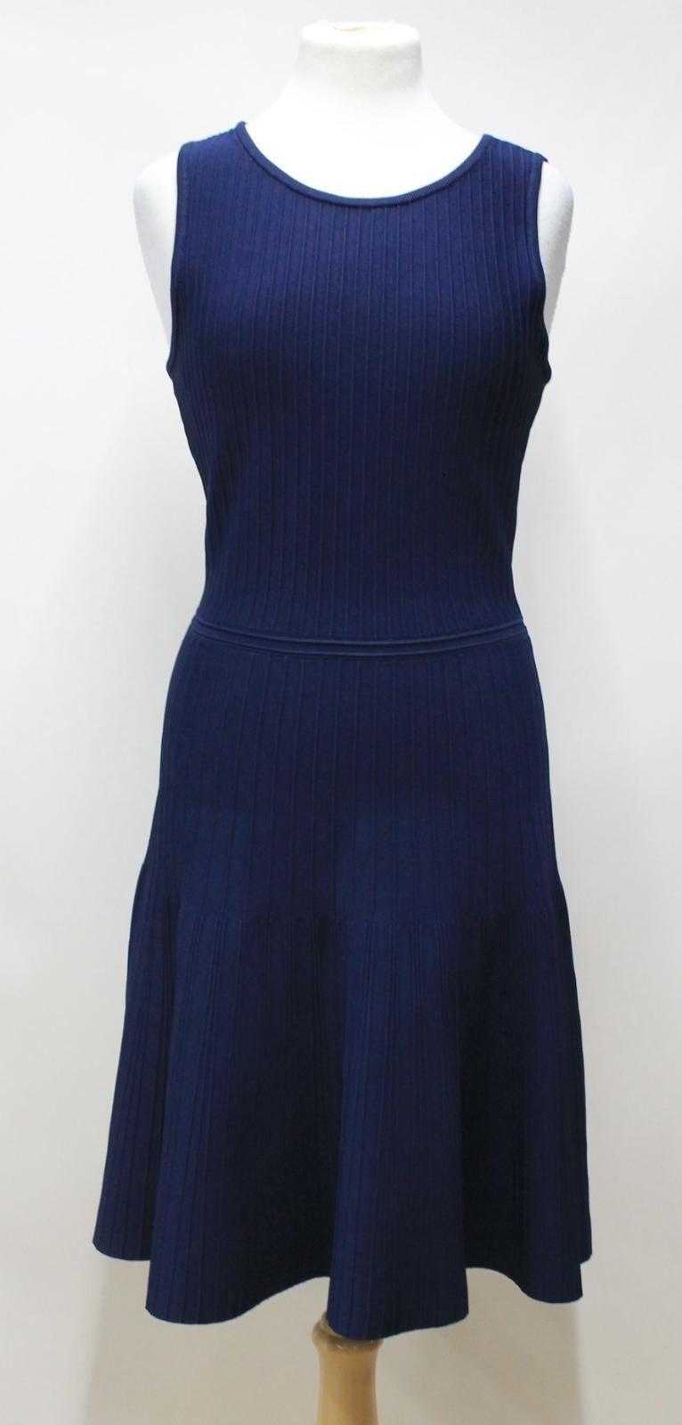 PINK-TARTAN-Ladies-Navy-Blue-Ribbed-Stretch-Sleeveless-A-Line-Dress-Size-S
