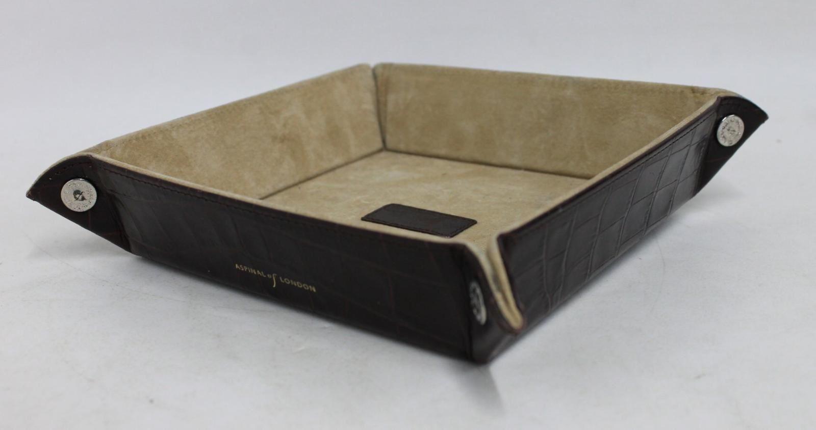 ASPINAL-OF-LONDON-Medium-Tidy-Tray-Mahogany-Croc-Print-Leather-Trinket-Holder