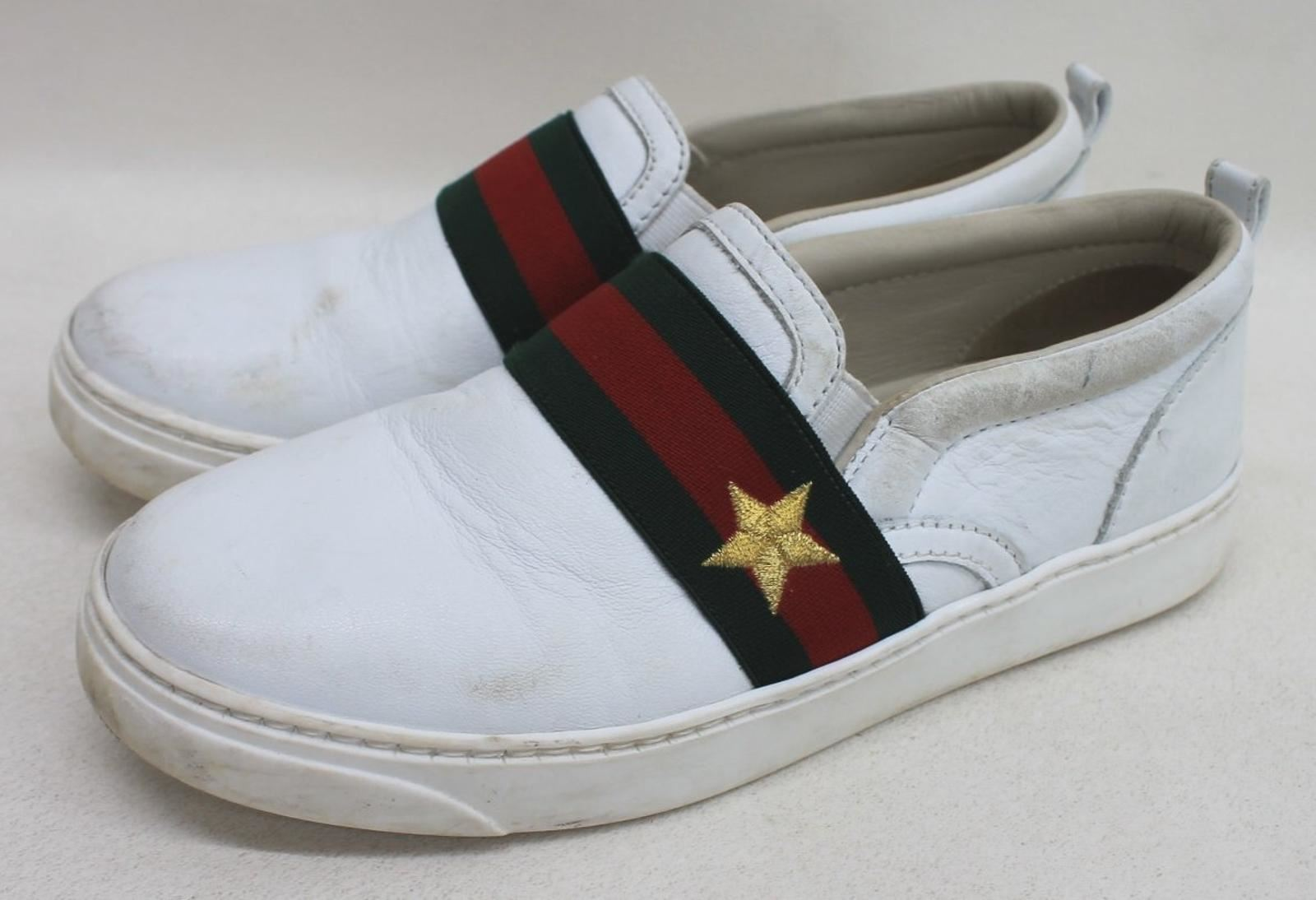 49b866dfe GUCCI Boys White Leather Green Red Web Star Slip On Trainers Size UK12 EU30