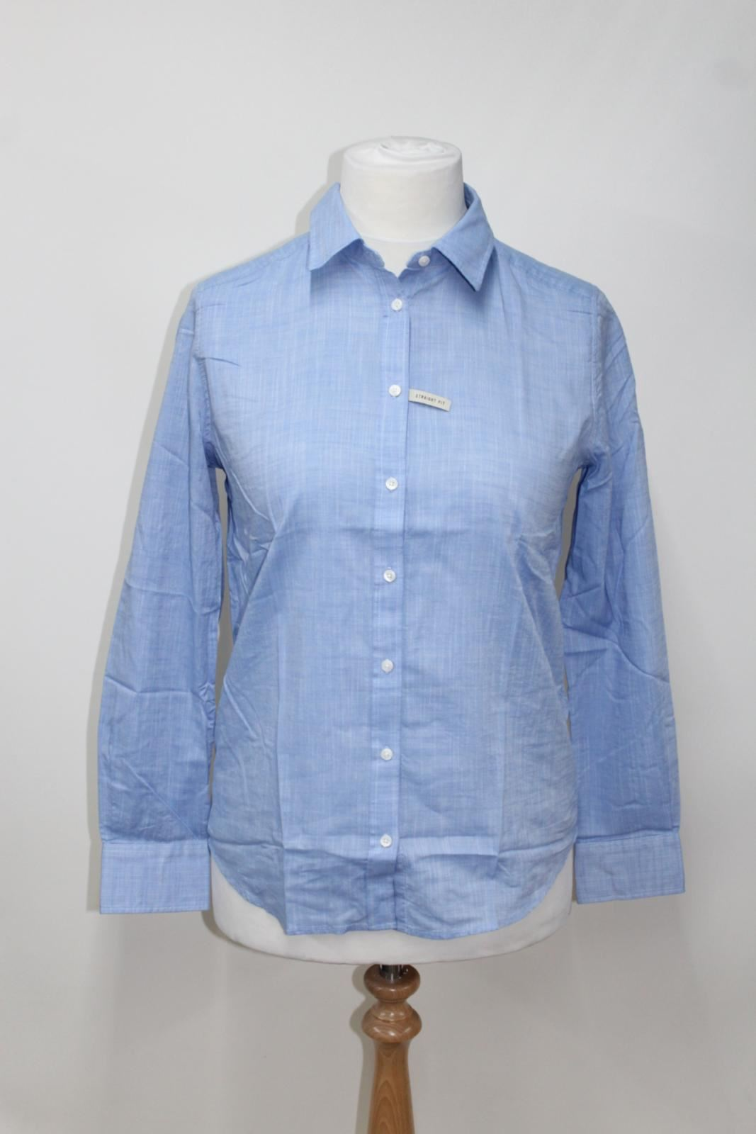 BNWT R.M. WILLIAM Rachel Donna Blu Cotone a Maniche Lunghe Camicia Button UK8