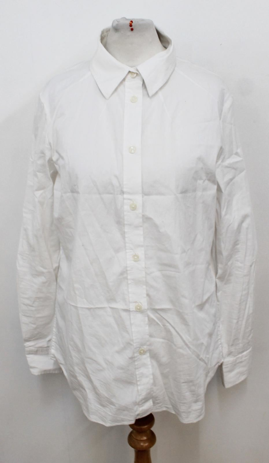 Neck Shirt Formal Jaeger White Long Cotton Button Up Ladies Collar Uk10 Sleeved 78wvn7Uxq