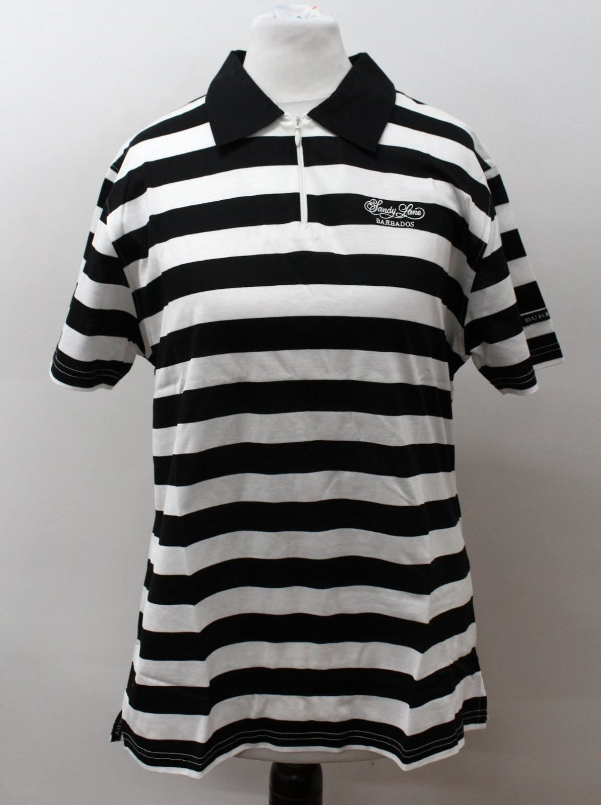 BURBERRY-GOLF-Ladies-Black-White-Cotton-Short-Sleeve-Striped-Polo-Shirt-S-BNWT
