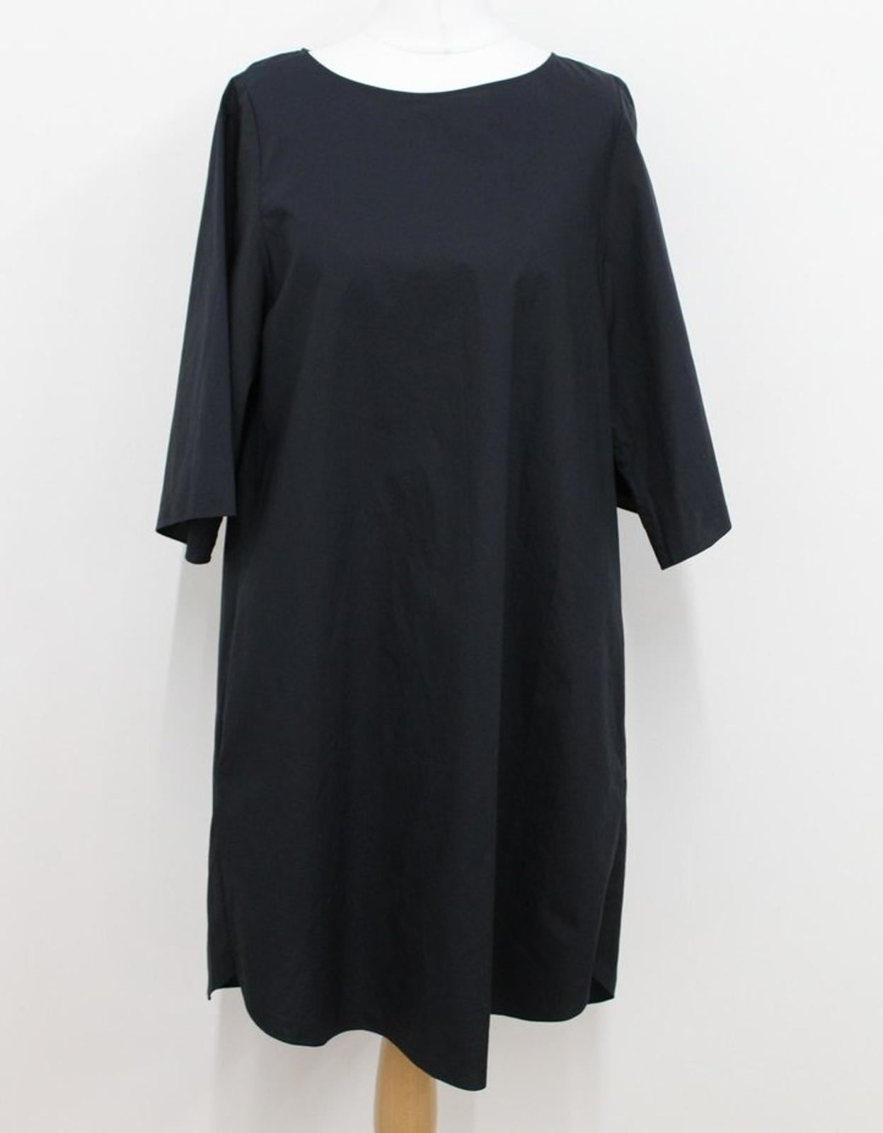 COS-Ladies-Navy-Blue-Cotton-Short-Sleeve-Crew-Neck-Shift-Midi-Dress-EU34-UK8