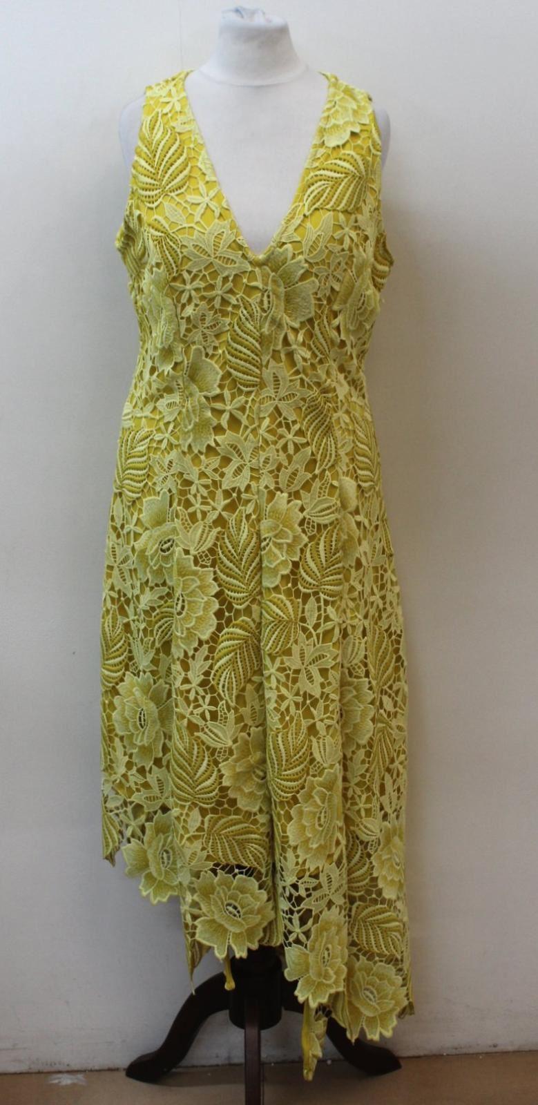 AUTOGRAPH Ladies Gelb Floral Crochet Asymmetric Hem Dress UK10 EU38 BNWT