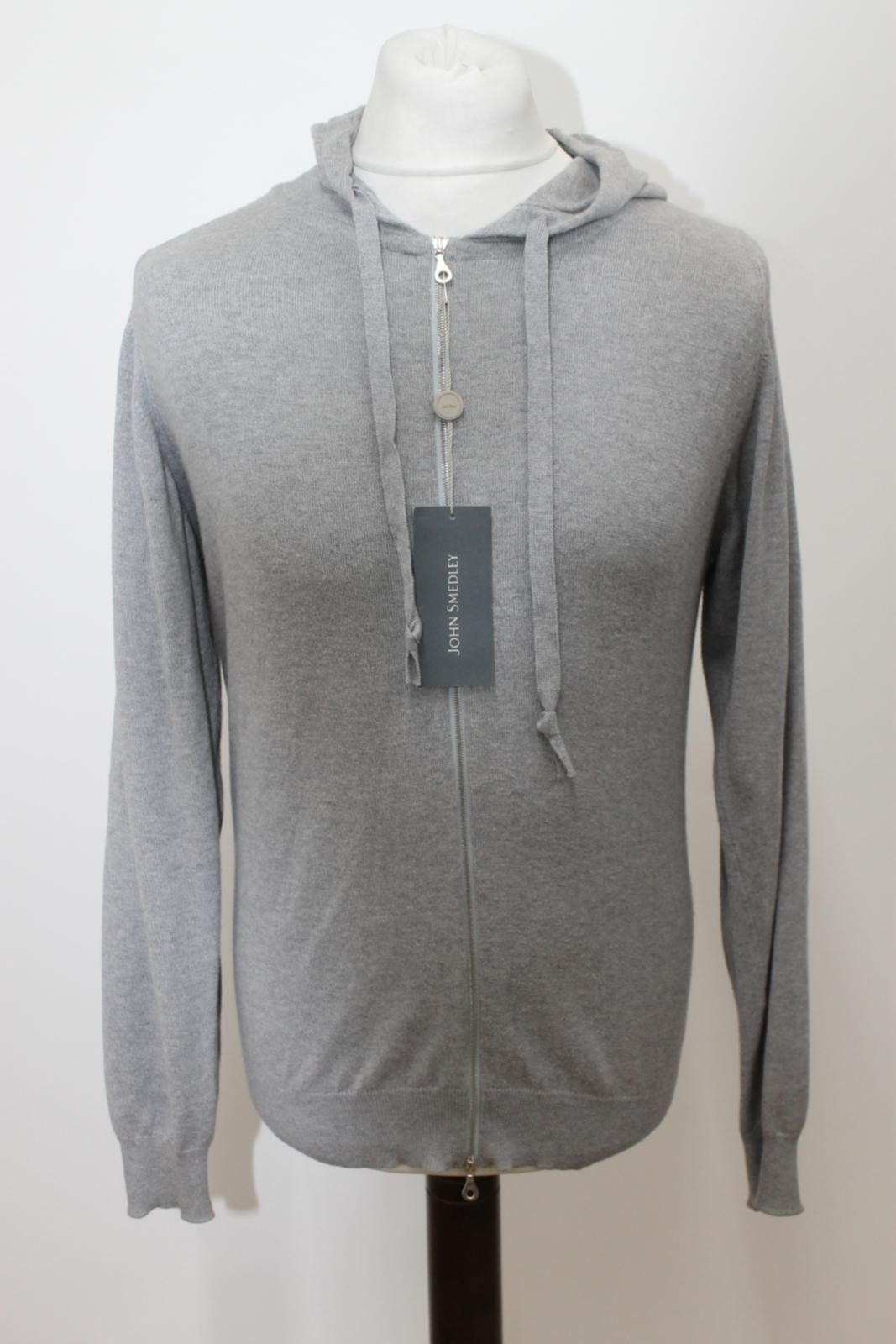 Imported From Abroad New John Smedley Men's Grey 100% Cotton Zip Up Hooded Cardigan Top Size S Keep You Fit All The Time Sweaters Clothing, Shoes & Accessories