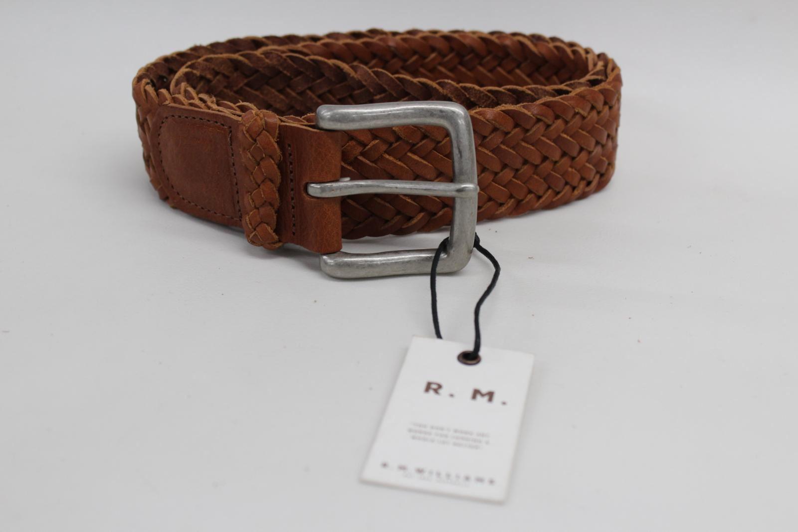 NUOVO-R-M-Williams-in-Pelle-Marrone-Intrecciato-TESSUTA-PIN-buckke-bambra-Cintura-Taglia-32-034