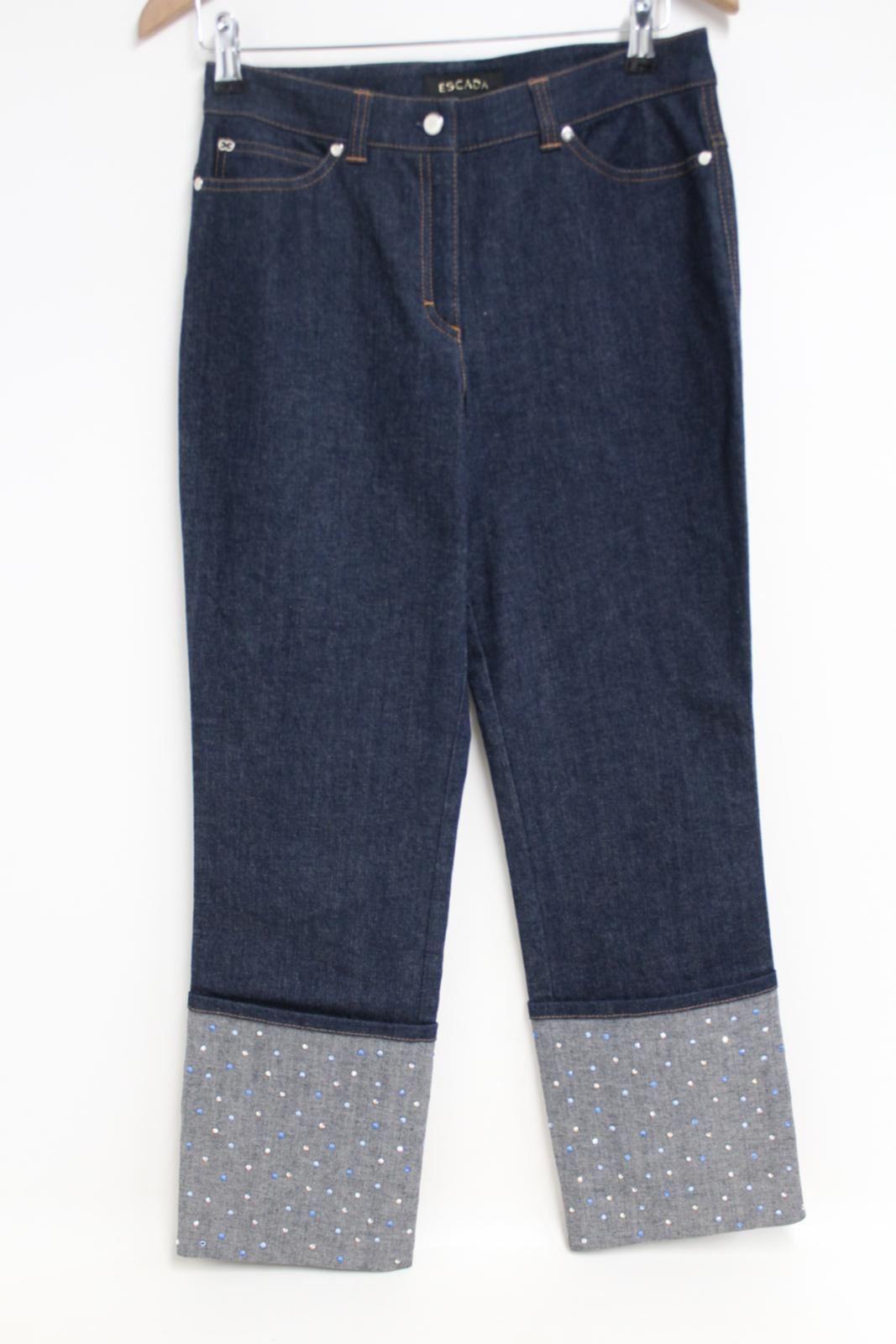 100% Vero Escada Donna Blu Stretch Gamba Dritta Cristallo Incastonati Jeans Eu38 W30 L28- Il Consumo Regolare Di Tè Migliora La Salute