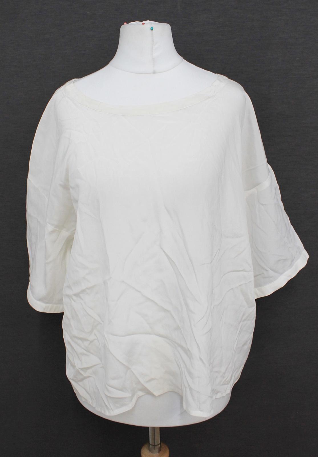 DKNY-DONNA-KARAN-NEW-YORK-Ladies-Ivory-Short-Sleeved-Oversized-Blouse-Size-S