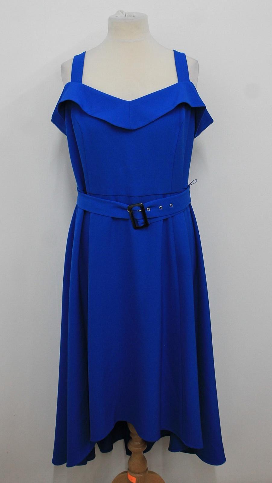 MONSOON-Ladies-Royal-Blue-Ruffled-Sweetheart-Neckline-Asymmetric-Dress-UK18