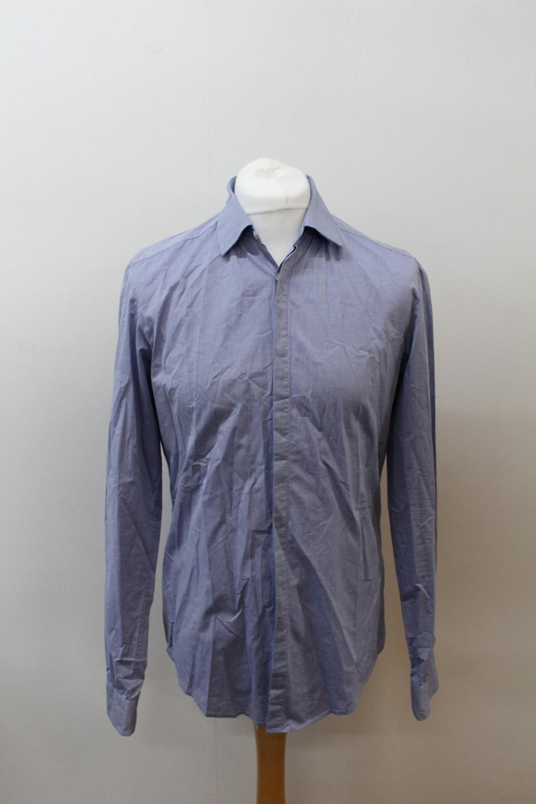 Boss-Orange-men-Azul-Algodon-Manga-Larga-Cuello-Con-Cuello-Informal-Camisa-Talla-M